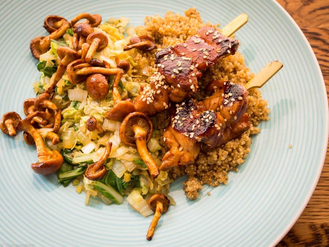 Quinoa met roerbakgroenten en kipspiesjes-54