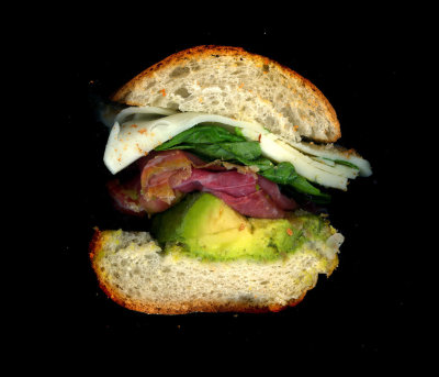 Urban Rustic: Prosciutto, Avocado, Basil, Pesto, Mozzarella, on a Baguette