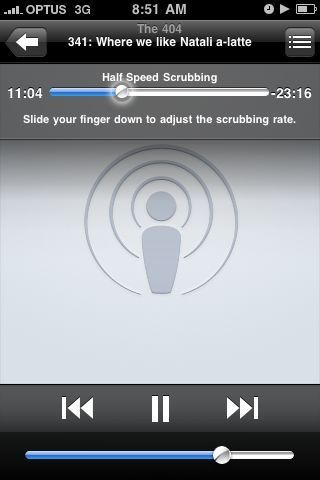 Adjustable scrubbing speed for podcasts - iPhone Software 3.0
