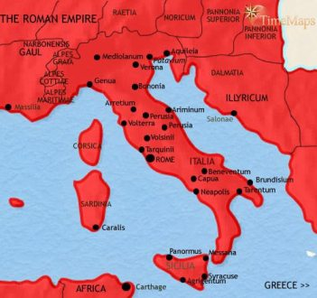 History of Italy 500 CE Map of Italy at 200CE