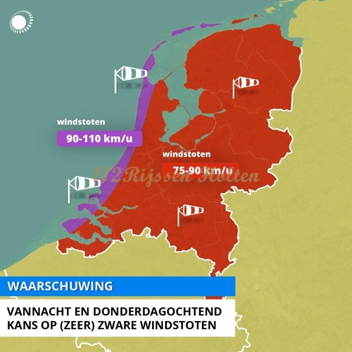 Twente- Vannacht en morgenochtend zware windstoten
