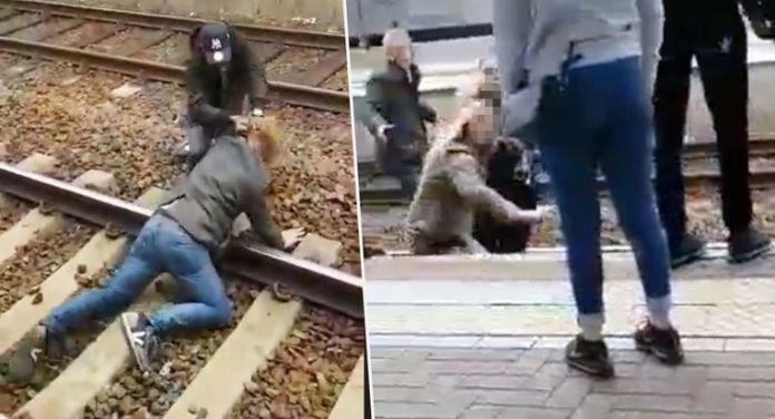Vechtpartij treinrails