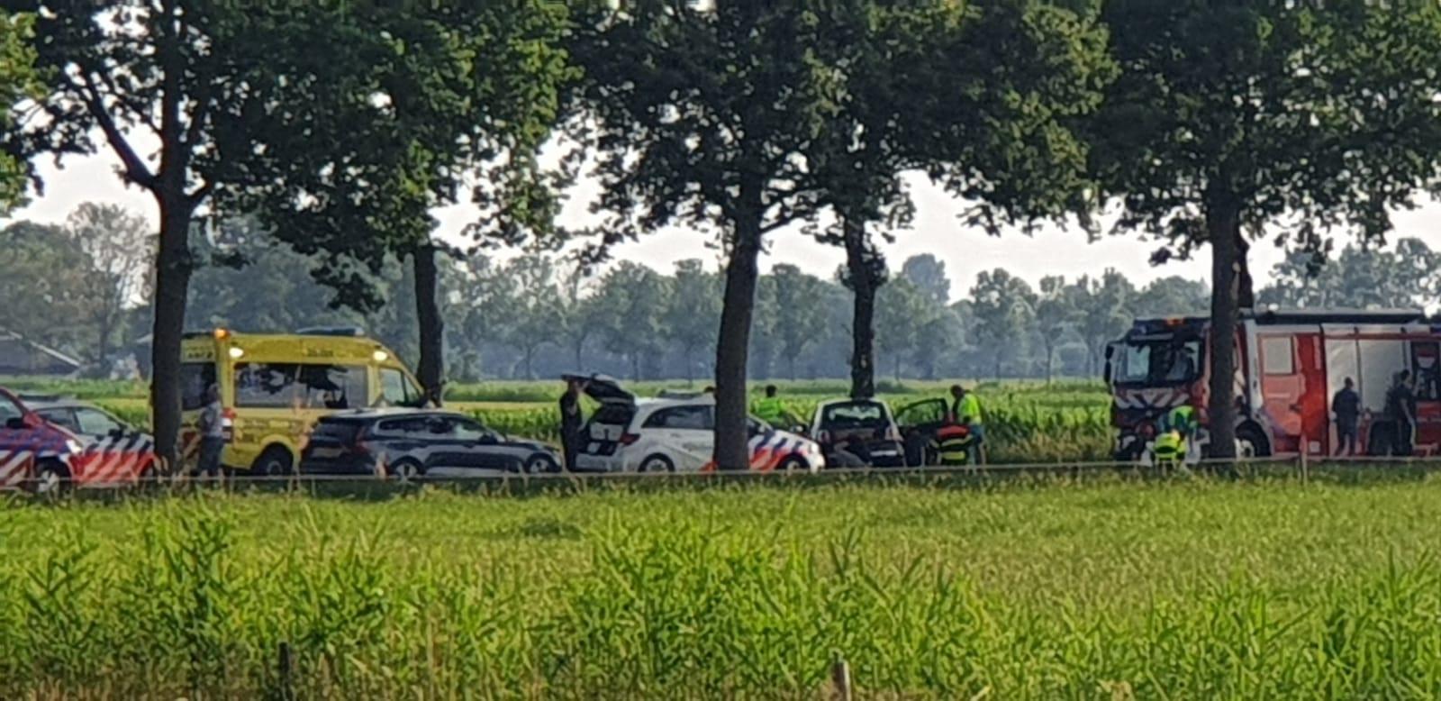 Vrouw en drie kinderen gewond bij ongeval.