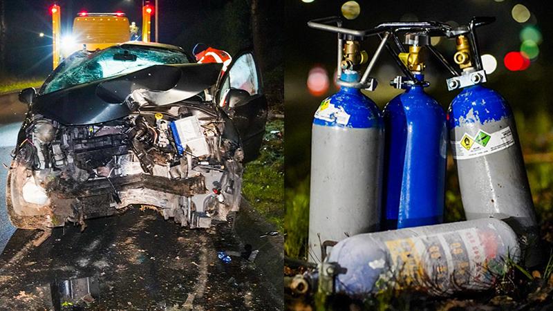 Twee gewonden na auto-ongeluk in Eindhoven, in auto lagen vier cilinders lachgas.
