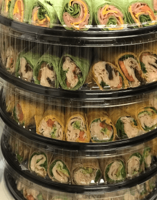 Delicious wraps on a platters