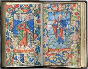 Manuscrit MS 3907, passionnaire et hymnaire du XVIe siècle, comportant 28 miniatures. Ici saint Simon et saint Jean. Médiathèque du Grand Troyes, photo P. Jacquinot