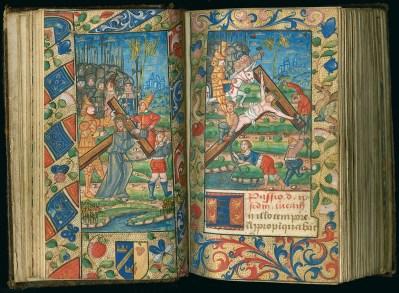 Manuscrit MS 3907, passionnaire et hymnaire du XVIe siècle, comportant 28 miniatures. Ici Jésus portant sa croix et la mise en croix. Médiathèque du Grand Troyes, photo P. Jacquinot