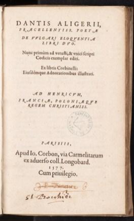 De vulgari eloquentia libri duo. 1577. Dantis, Aligerii, t.13.1636. Médiathèque du Grand Troyes. Photo E. Bord