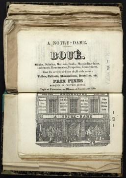 Publicité magasin A Notre Dame à Troyes : Almanach de Troyes 1851 : 3ère année, pages 176-177. Cab. loc. 12° 1068. Médiathèque du Grand Troyes. Photo: P. Jacquinot