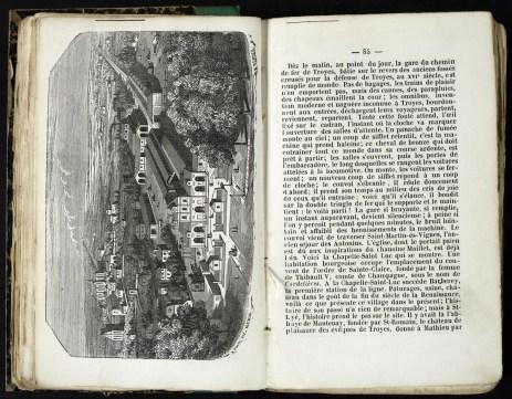 L'ancienne gare de Troyes : Almanach de Troyes 1852 : 4ème année, pages 84-85. Cab. loc. 12° 1068. Médiathèque du Grand Troyes. Photo: P. Jacquinot