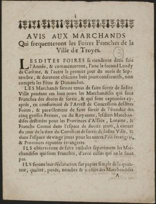 Avis aux marchands qui fixe les dates et les règles des périodes de Foires. Entre 1687 et 1706. Fonds des Archives municipales de Troyes déposé à la Médiathèque. Dossier HHSUP Foires de Troyes.