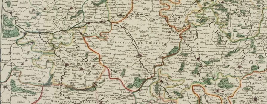 Carte de l'Election de Troyes, qui était à l'époque une partie de la Généralité (Province) de Chalons. Mémoire concernant la Généralité de Châlons, 1699.