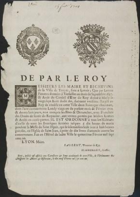 Arrêt du Maire de Troyes qui fixe les périodes de Foires pour l'année 1701. 19 février 1701. Fonds des Archives municipales de Troyes déposé à la Médiathèque. Dossier HHSUP Foires de Troyes.