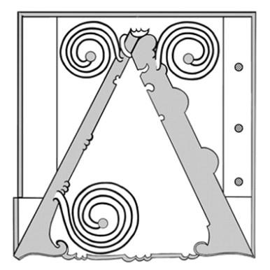 Deuxième canevas pour la fabrication de la lettre en relief. Les spirales sont ajoutées au premier canevas. En ajoutant les motifs un par un, on obtient peu à peu l'enluminure complète. Image Médiathèque de Troyes Champagne Métropole