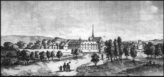 Gravure représentant le Paraclet, abbaye fondée près de Nogent-sur-Seine par Héloïse et Abélard. Image Wikipédia