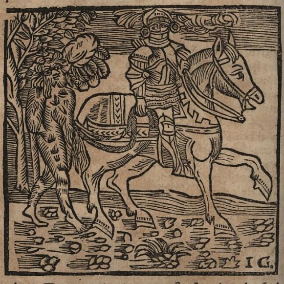 """Valentin à cheval suivi par Orson. Gravure extraite de """"L'Histoire de Valentin et Orson"""". Photo Médiathèque de Troyes Champagne Métropole"""