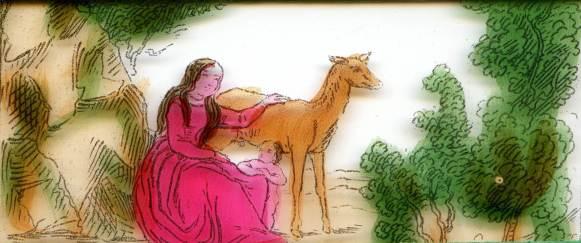 Geneviève de Brabant, perdue dans la forêt, apprivoise une biche blessée qui nourrie son fils. Image de lanterne magique. Photo Marie-Dominique Leclerc
