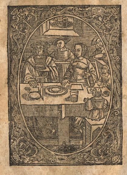 """La table d'une famille d'un milieu modeste. Gravure d'une édition du """"Pâtissier françois"""", Troyes, 17e siècle. Photo Médiathèque de Troyes Champagne Métropole"""