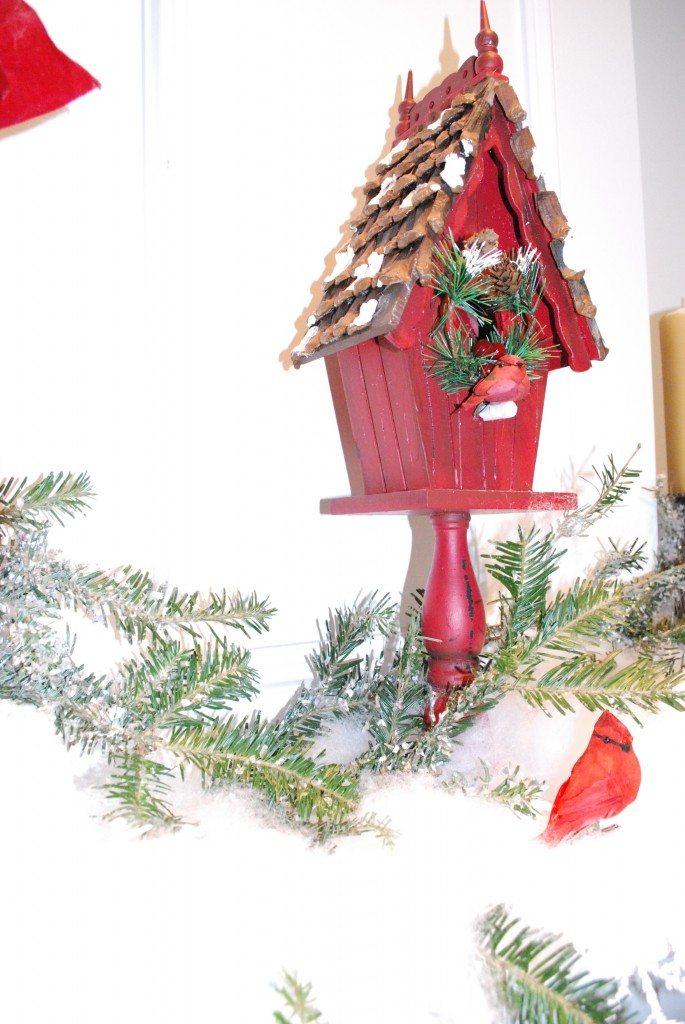 woodland Christmas mantel decor