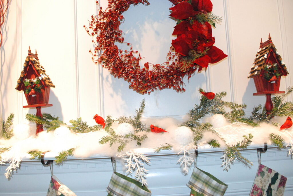 red white green Christmas mantel decor