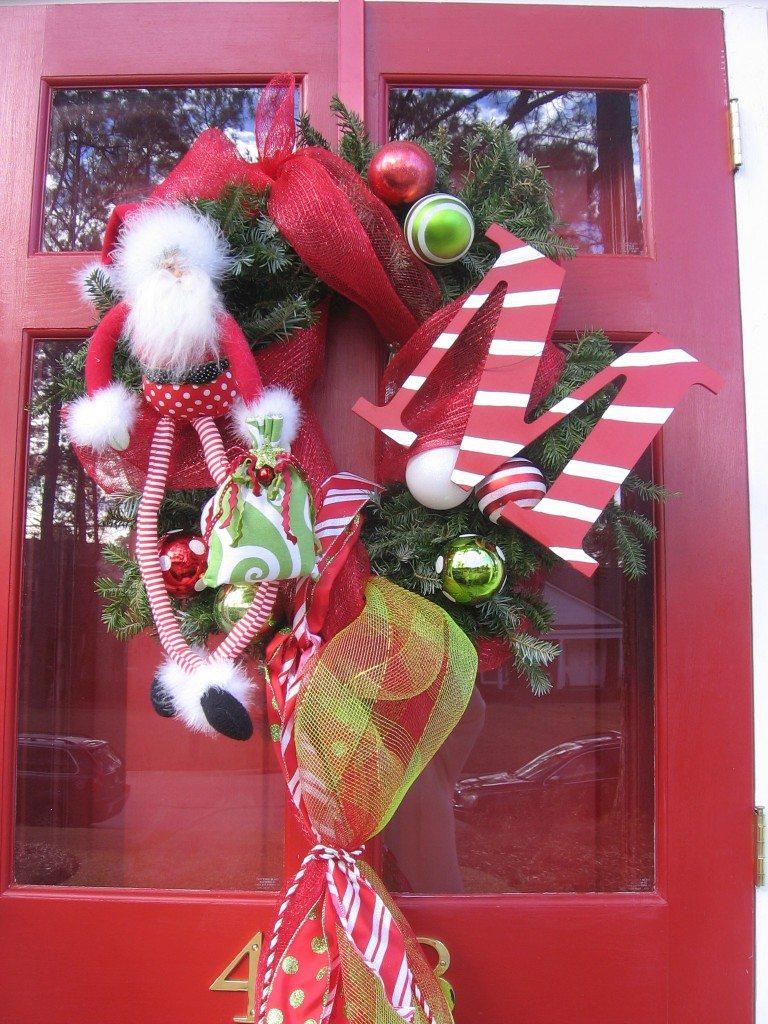 Christmas front door wreath monogram