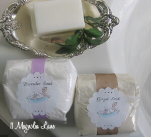 Christmas Gift Idea--Homemade Ginger & Lavender Bath Salts--Plus Free Printable Tags