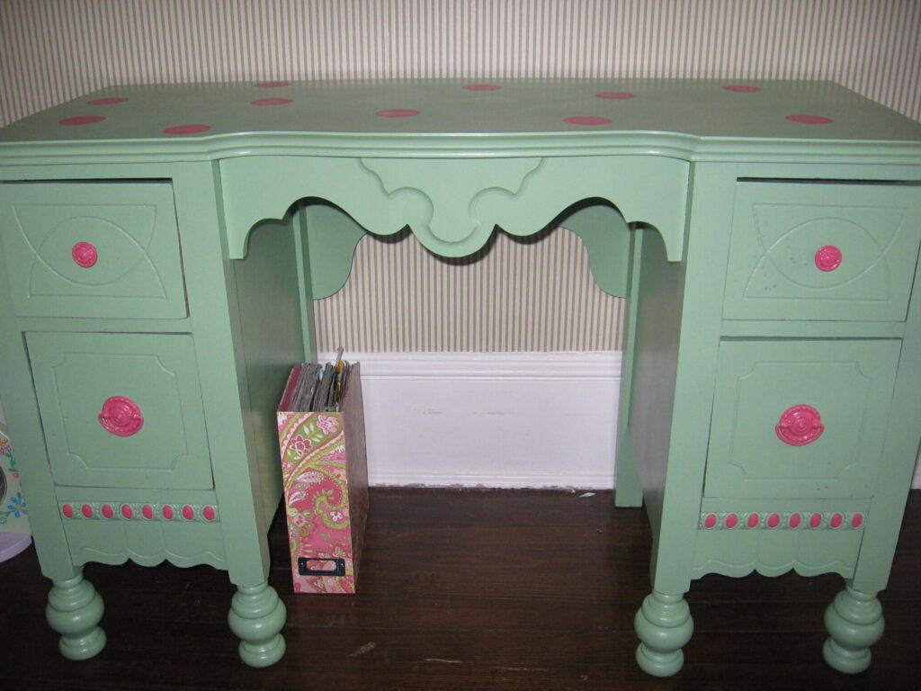 bright green painted vintage desk