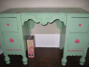 bright green painted vintage desk