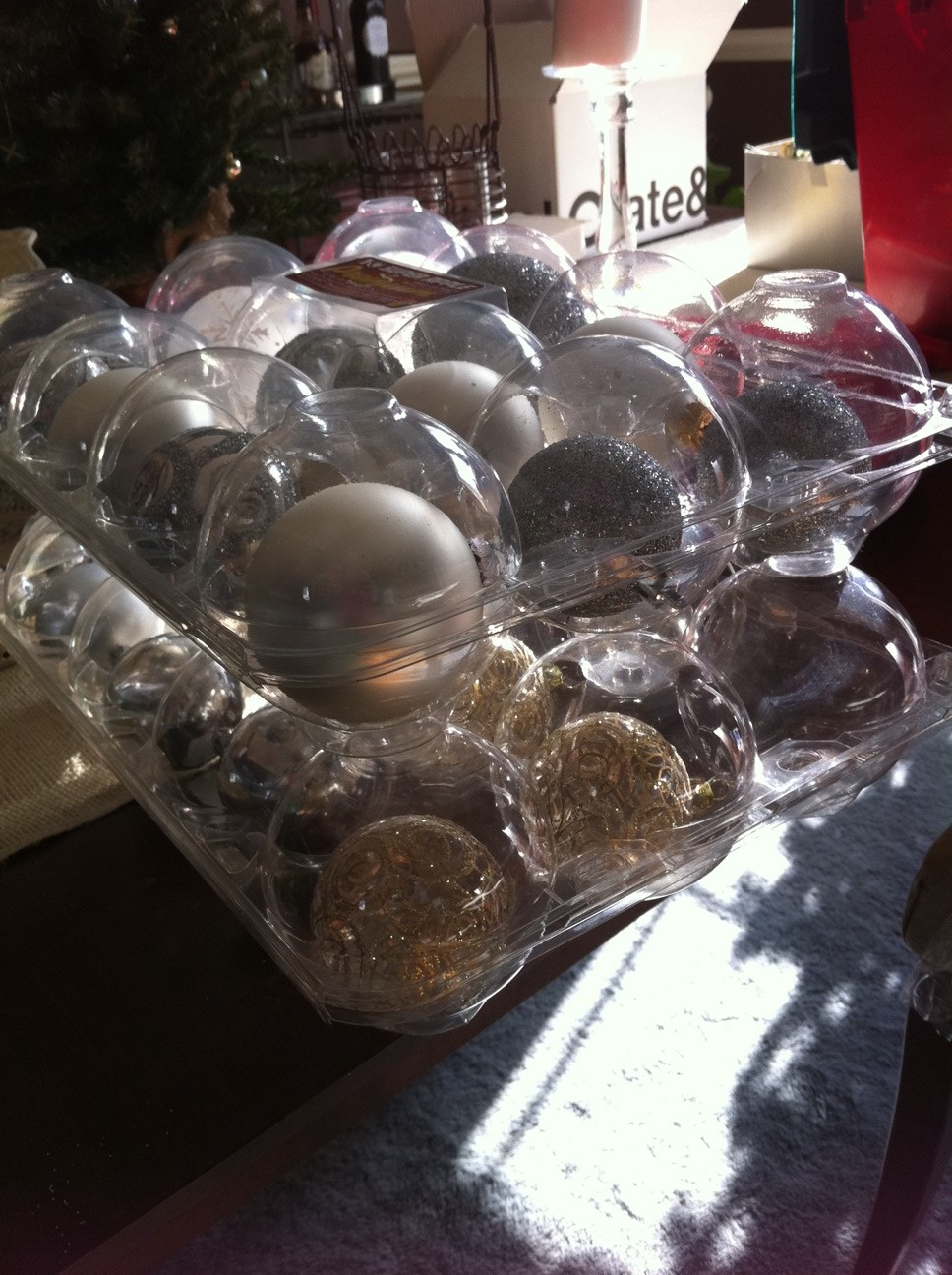 apple containers as free Christmas ornament storage