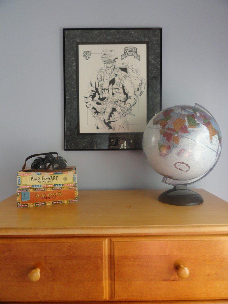 globe, cigar boxes, and vintage binoculars