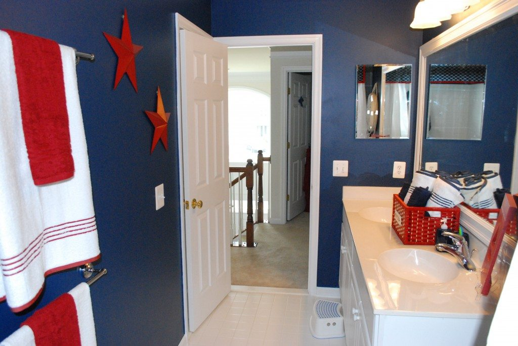 Boys red white blue bathroom