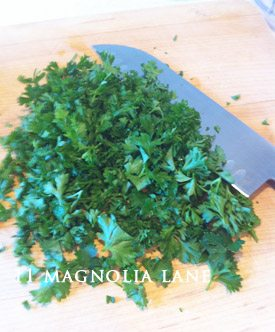 And I chopped A lOT of parsley-2/3 a cup