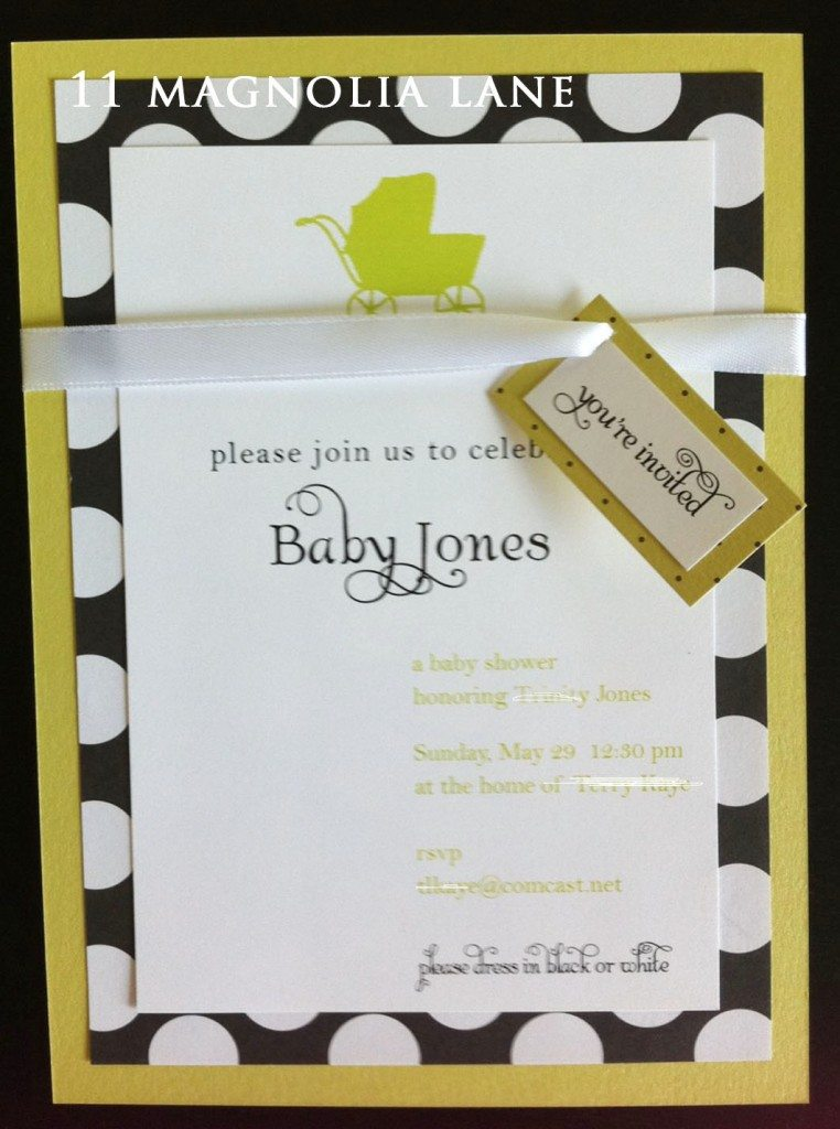 lime black white baby shower invitation