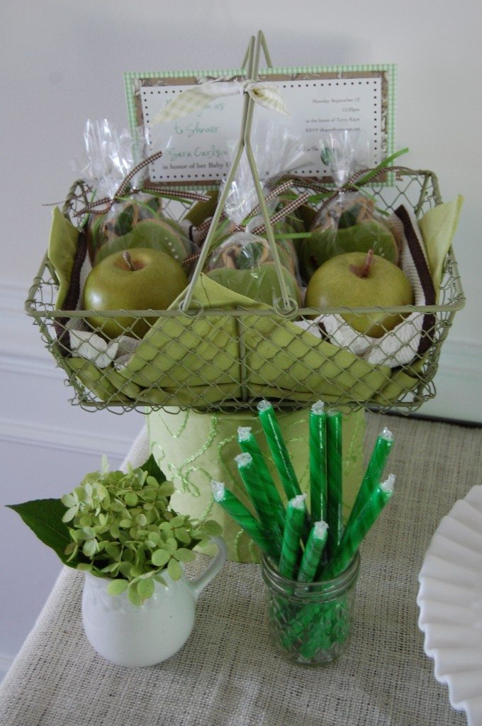 "Favors:  I love these favors from JP Creatables.  She is a cookie designer here in Norther VA and she is AMAZING.  The basket, the wooden apples and the cloth napkin came with the cookies.  It was her way to ""display"" them for me.  They were worth every penny and I still have the basket and apples for some fall Decor around the hosue."