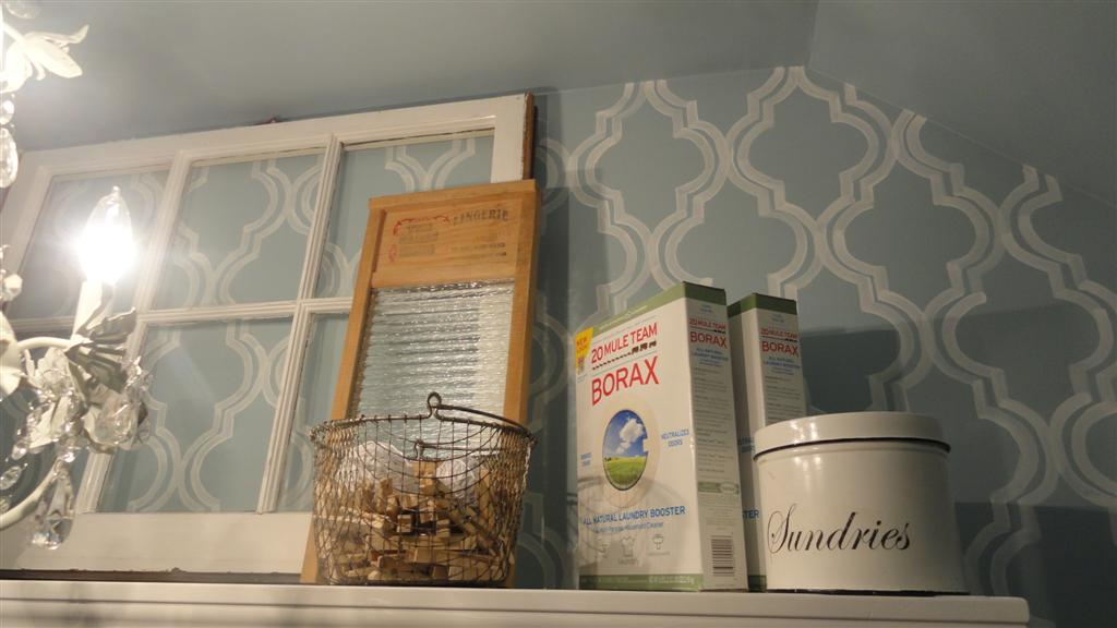A couple of spare boxes of borax (hey, they're decorative!) and a basket of clothespins