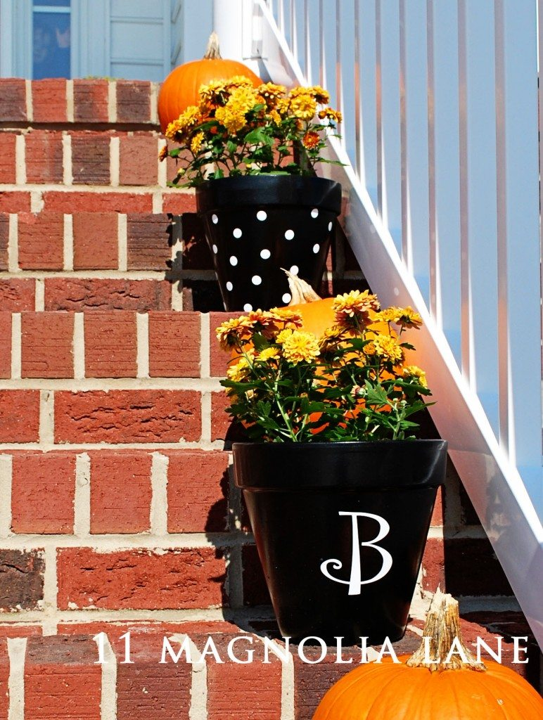 flower pots with decals from 11 magnolia lane