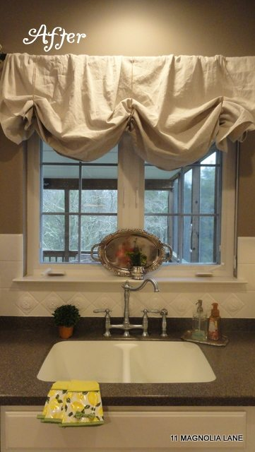 DIY dropcloth window treatment