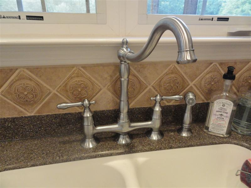 Brushed nickel bridge faucet