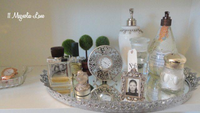 bathroom silver and crystal