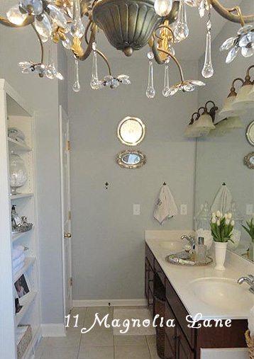 master bathroom redo chandelier
