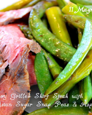 Ginger Soy Marinated Skirt Steak with Sugar Snap Peas and Asaparagus Stir Fry