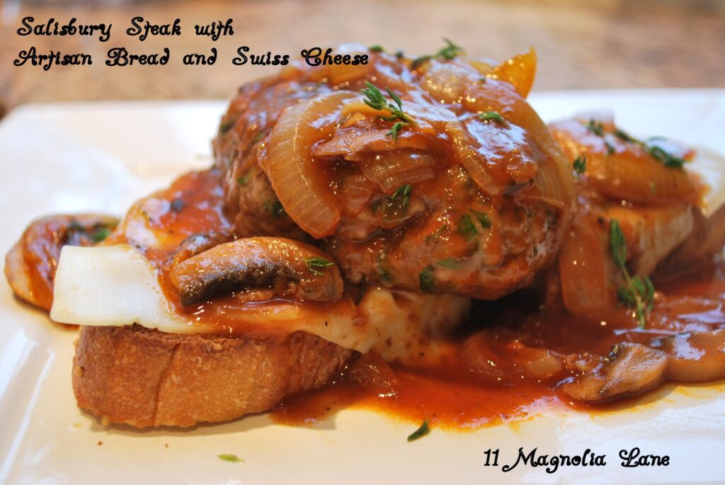 Salisbury Steak with Artisan Bread and Swiss Cheese
