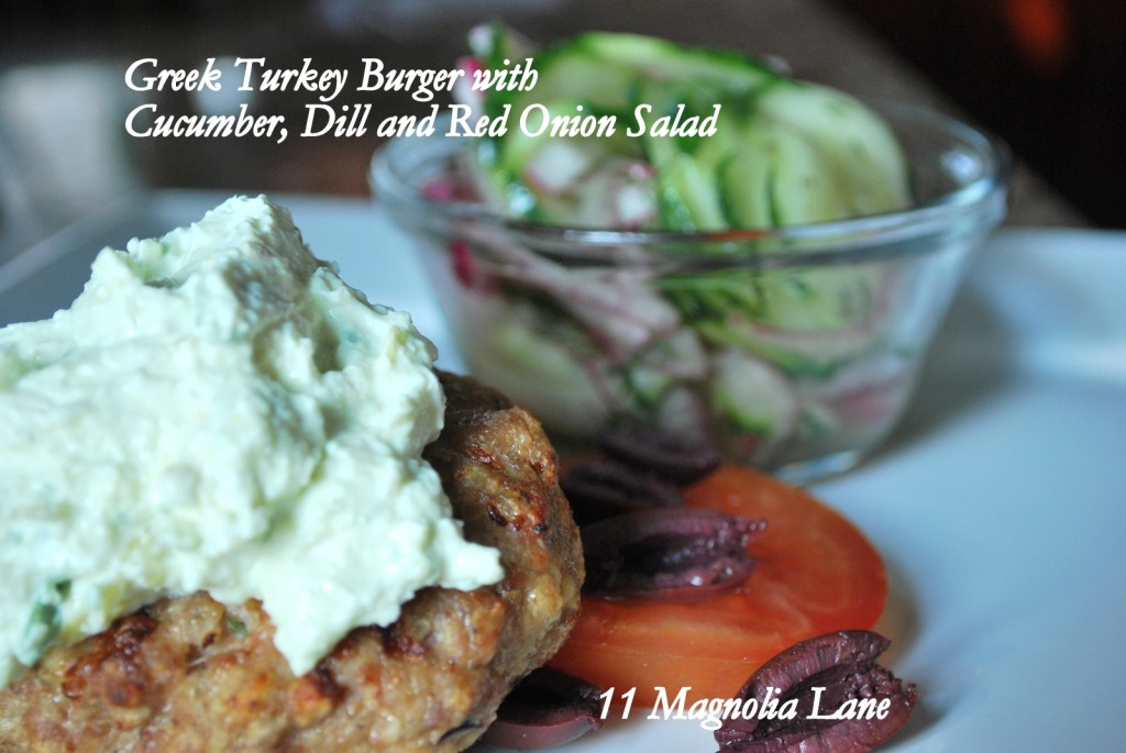 Greek Turkey Burger and Cucumber Salad