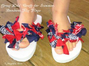 Easy {and Cheap!!} Kids' Summer Craft:  Bandana Flip Flops