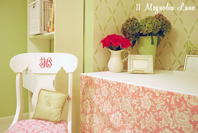 Pink and green craft room