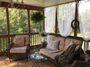 Easy Screened Porch Update:  Sheer Outdoor Curtains Add Privacy (and Pizazz!)