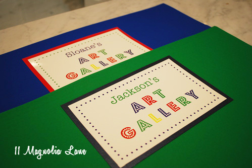 Kids' artwork storage folder idea with free printable label