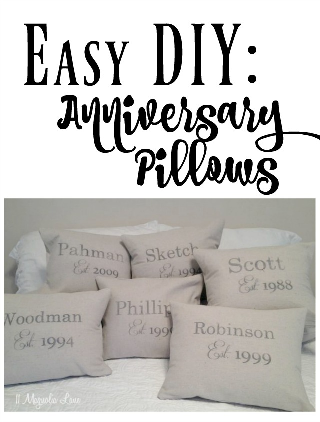 Easy DIY: anniversary name and date pillows