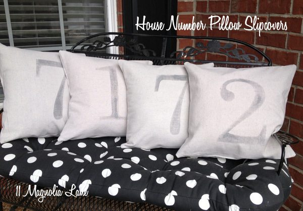 House number canvas pillow slipcovers tutorial