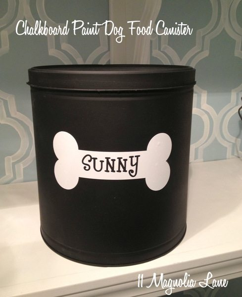 Chalkboard paint dog food tin